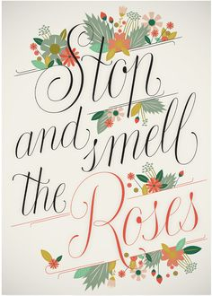 'Stop and smell the roses' by Martina Flor for lettercollections.com