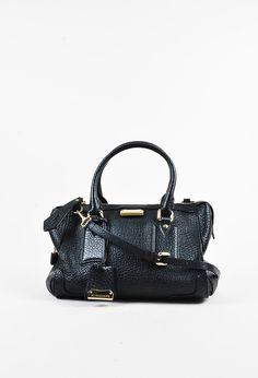 "Burberry Blue Signature Grain Calf Leather ""Medium Heritage Gladstone"" Bag"
