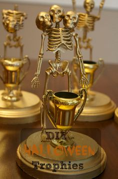 DIY Halloween Skeleton Trophies Perfect as Costume Contest Awards. Easy and Inexpensive.