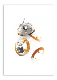 Art-Poster Wall Editions : Star Wars - BB8 Tribute, by Arian Noveir. Format : 50 x 70 cm. #starwars #bb8 #geek #movie #poster #print #art #walleditions