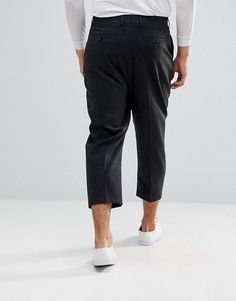 ASOS Drop Crotch Tapered Smart Pants In Charcoal Wool Mix - Gray