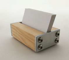 Business Card Holder for Desk Wood and Metal, Modern Office Decor, Choice of…