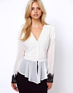 Lydia Bright Blouse With Peplum and Lace Cuff- ASOS