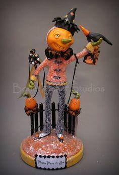 halloween , folk art , paper mache - pumpkin