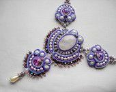 Bead Embroidery Necklace Soutache blue silver Bead Embroidered Swarovski. $165.00, via Etsy.