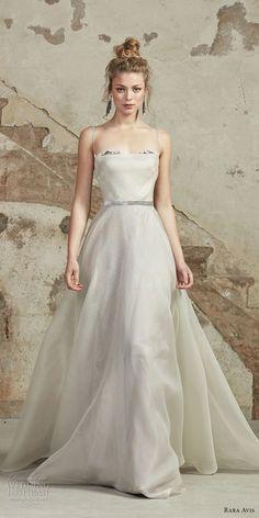 rara avis 2017 bridal spaghetti strap straight across necklne simple romantic a line wedding dress chapel train (8) mv -- Rara Avis 2017 Wedding Dresses