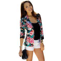 2017 Spring Women One Button Jacket Slim Casual Business Blazer Suit Floral Jacket Coat Outwear Women Blazers And Jackets Blazers For Women, Suits For Women, Jackets For Women, Women Blazer, Blazer Floral, Burgundy Blazer, Mode Kimono, Floral Bomber Jacket, Blazer Jacket