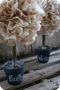Coffee filter topiary..........make a smaller version using a peat pot?