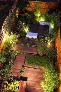 Holz-Dachterrasse Begrünung-Ideen Beleuchtung-städtisches Gartendesign