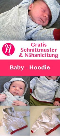 Free sewing pattern for a baby hoodie.de – Magazine for free sewing patterns and hobby knives ✂ Free sewing pattern for a baby hoodie. PDF sewing pattern for home printing.de – Magazine for sewing and free sewing patterns by Easy Baby Sewing Patterns, Knitting Patterns Boys, Baby Clothes Patterns, Pattern Sewing, Free Pattern, Baby Hoodie, Baby Pullover, Baby Poncho, Sewing Projects For Beginners