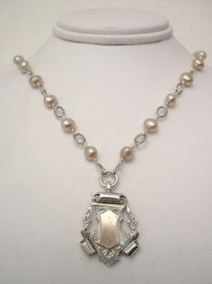 Antique Silver & Rose Gold Award Fob & Pearl Necklace