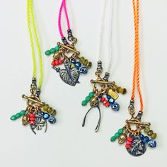 New neon charm cluster necklaces