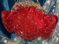 vintage red draped beaded evening bag $88
