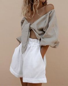 Ethical Edit: 5 Sustainable Linen Shorts You Can Dress Up Or Down - Sustainable Linen Shorts – Posse - Look Fashion, Fashion Outfits, Womens Fashion, Fashion Tips, Fashion Design, 70s Fashion, Fashion Pants, Classy Fashion, Fashion Hair