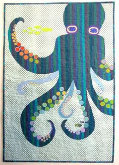Adorable octopus applique quilt from the Sea Quilts Shop. Close up of the… Applique Patterns, Applique Quilts, Quilt Patterns, Fish Patterns, Mini Quilts, Baby Quilts, Coastal Quilts, Mermaid Quilt, Nautical Quilt