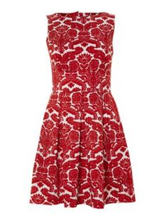 Closet Cut out back print pleat dress Red - House of Fraser