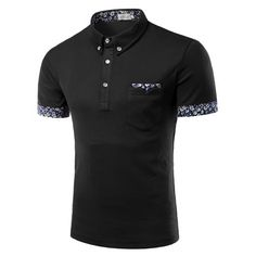 15.86$  Buy now - http://di7mg.justgood.pw/go.php?t=181274420 - Flower Print Edging Turn-Down Collar Short Sleeve Button-Down Men's Polo T-Shirt 15.86$