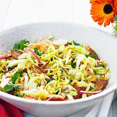 Warm Bacon and Herb Coleslaw Recipe - Sunset Magazine keto slaw bacon - Keto Coleslaw Bacon Recipes, Wine Recipes, Salad Recipes, Coleslaw Recipes, Herb Recipes, Keto Cole Slaw, Cabbage And Bacon, Cabbage Salad, Summer Side Dishes