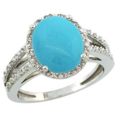 Sterling Silver Diamond Halo Sleeping Beauty Turquoise Ring 2.85 Carat Oval Shape 11X9 mm, 7/16 inch (11mm) wide, sizes 5-10 -