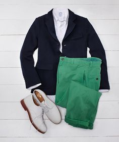 The Garden Party look. From Brooks Brothers. I love the green pantsmust get for business casual Green GW events.  Men Fashion Style Classic Preppy