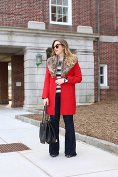 Red Coat | Fur Collar | Flare Jeans | Striped Shirt | Early Spring Late Winter Outfit | Winter to Spring Transitional Fashion
