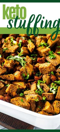 The holidays are all about tradition, and it doesn't get much more traditional than stuffing. Think you have to give it up just because you are on a low carb diet? No way! This Keto Stuffing with Sausage provides all the comfort of the original. You won't miss the carbs here! Best Low Carb Recipes, Real Food Recipes, Keto Recipes, Christmas Recipes, Thanksgiving Recipes, Holiday Recipes, Easy Dinner Recipes, Easy Meals, Keto Stuffing
