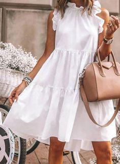 Elegant Summer Dresses, Cute Dresses, Casual Dresses, Fashion Dresses, Best Summer Dresses, White Dress Summer, Summer Dress Outfits, Fashion Hats, Modest Fashion