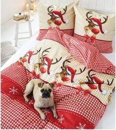 """Winterliche Bettwäsche """"Rudi"""" in rot/beige mit den Maßen 135x200. Die Bettwäsche ist mit einem Reißverschluss ausgestattet zu 100% aus Baumwollflanell. https://www.plus.de/p-1407733000?RefID=SOC_pn"""