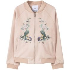 MANGO Embroidered Bomber (€110) ❤ liked on Polyvore featuring outerwear, jackets, tops, coats & jackets, zipper jacket, long sleeve jacket, zip jacket, lined bomber jacket and pink jacket