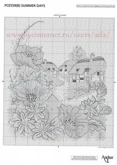 summer   3 Cross Stitch Flowers, Cross Stitch Patterns, Cross Stitch House, Cross Stitch Landscape, Cross Stitch Pictures, Blue Cross, Cross Stitching, Flower Patterns, Needlework