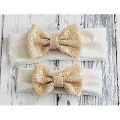 Sequin Bow Headband, Off White