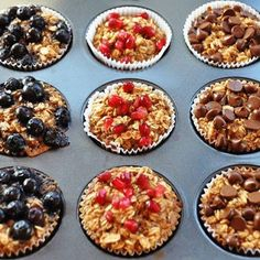 A La Graham: Individual Baked Oatmeal Cups- Clean Eating Healthy Desayunos, Healthy Snacks, Healthy Eating, Healthy Recipes, 21dayfix Recipes, Tasty Meals, Healthy Muffins, Vegetarian Recipes, Clean Eating Recipes