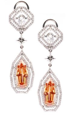 Christian Tse Geometric Drop Earrings in 18kt White Gold with Fancy Vivid Yellow-Orange Diamonds totaling 3.94 cts and 3.57 cts Pave Diamonds