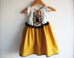 Baby Girl Tribal Dress/ Boho Chic Dress/ Baby Clothes/ Mustard Yellow Dress/ Photo Props/ Size: NB,0-3,3-6,6-12,12-18,18-24 mths, 2T-6