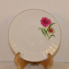 Daisy Saucer Japan Vintage Pink Floral Plate Ribbed Border