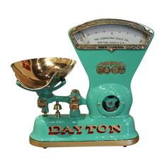 Fully functional 1900s 2 pound Dayton Candy Scale with removable brass scoop! So much fun!