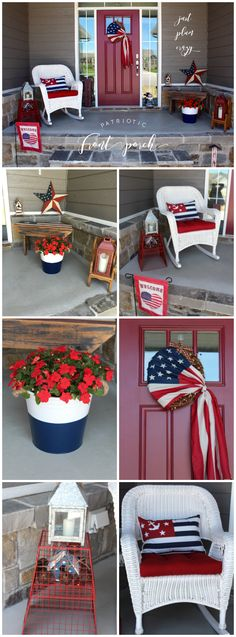 Patriotic Porch Red, White & Blue Small Spaces is part of Holiday decor Summer - Patriotic Porch red, white & blue small spaces decorations I leave my patriotic decorations up throughout the summer from Memorial Day to Labor Day Patriotic Crafts, July Crafts, Patriotic Party, Patriotic Room, Decorating Small Spaces, Porch Decorating, Decorating Ideas, Summer Decorating, Decor Ideas