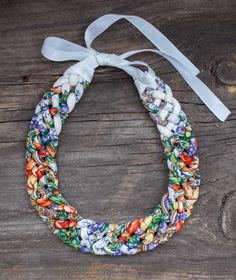 African Beaded Bracelets, African Necklace, African Jewelry, Yarn Necklace, Fabric Earrings, Textile Jewelry, Fabric Jewelry, Shell Jewelry, Beaded Jewelry