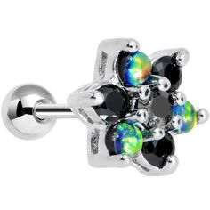 "14 Gauge 1/4"" Black Faux Opal Black Flower Tragus Cartilage Earring Want some flower power with a little extra divine energy tossed into the stylish mix? Then look no further, because this 14 gauge tr"