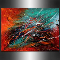 ABSTRACT Art LARGE ARTWORK Red Teal Turquoise Contemporary Abstract Painting Drip Art Huge Painting Acrylic Palette Knife Oversize canvas on Etsy, $329.00