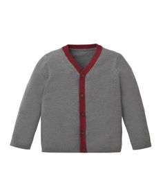 Grey Cardigan with Burgundy Trim