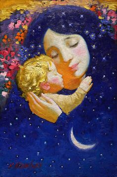 Victor Nizovtsev - Mother and Child Catholic Art, Religious Art, Victor Nizovtsev, Mother And Child Painting, Illustration Art, Illustrations, Mother Art, Madonna And Child, Christmas Art