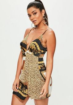 cc34177f45 Missguided Blue Printed Silky Plunge Wrap Shift Dress
