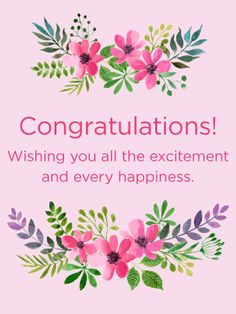 pink flowers congratulations card theres been good news that means its time to wish - Congratulations Cards