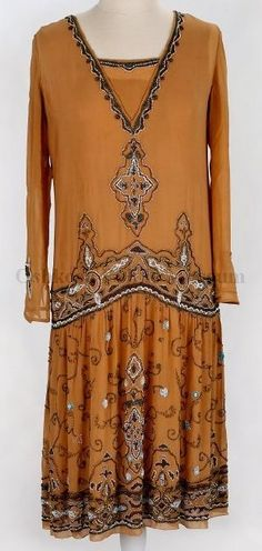 1920s silk embroidered dress