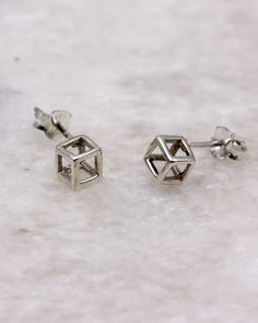 Hollow Cube Stud Earring in sterling silver. Geometric Jewelry, Rose Gold Plates, Cube, Studs, Plating, Cufflinks, Stud Earrings, Jewellery, Sterling Silver