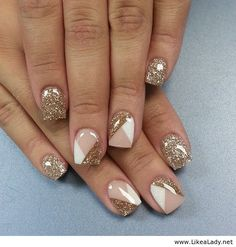 Gold, beige and white nail art #♛ #NailTrends