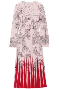 Pastel-pink, black and red silk crepe de chine Concealed hook and zip fastening at back 100% silk; lining: 91% silk, 9% elastane Dry clean Made in Italy