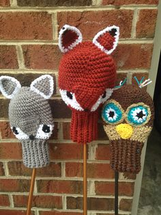 Crochet Golf Club Covers - Woodland Animals - Father's Day....