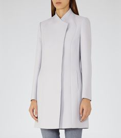 Womens Soft Grey High-neck Coat - Reiss Melania